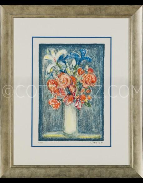 Petit bouquet sur fond bleu - Cottavoz 1986