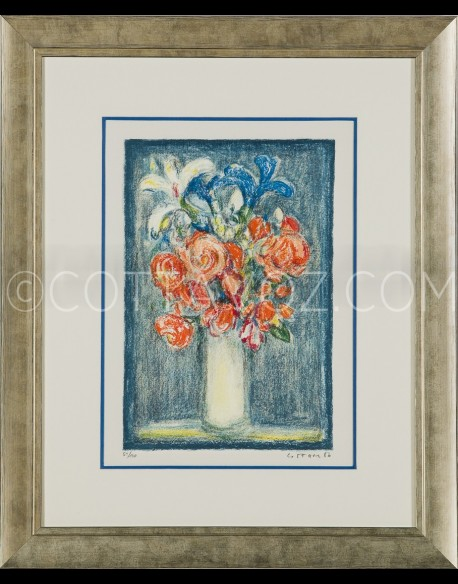 Small bouquet on a blue background - Cottavoz 1986