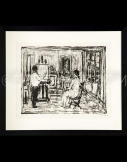 Le peintre et son modèle dans l'atelier - Cottavoz 1975