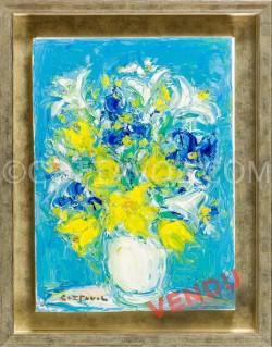 Yellow bouquet on a blue ground - Cottavoz