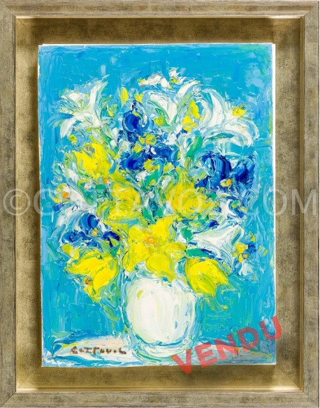 Yellow bouquet on a blue ground - Cottavoz